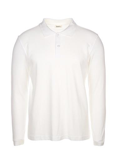 Dagi Beyaz Polo Yaka Uzun Kol Erkek T-Shirt Beyaz